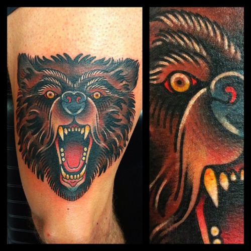 Traditional bear head tattoo - photo#1
