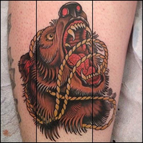 Traditional bear head tattoo - photo#5