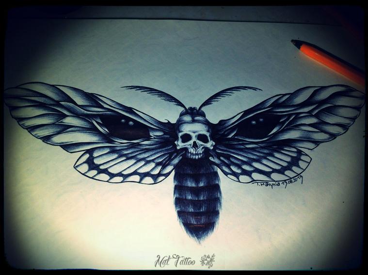 4896bc0e22e2b Amazing Black Ink Skull In Moth Tattoo Design