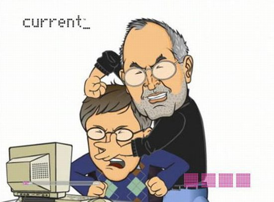 Bill Gates And Steve Jobs Funny Fighting Cartoon Image