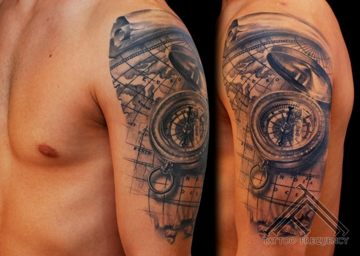 80 fantastic map tattoos black and grey 3d compass with map tattoo on man left shoulder gumiabroncs Images