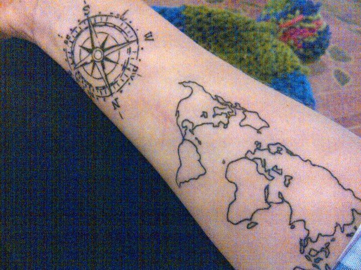 80 fantastic map tattoos black compass with world map tattoo design for forearm gumiabroncs Images