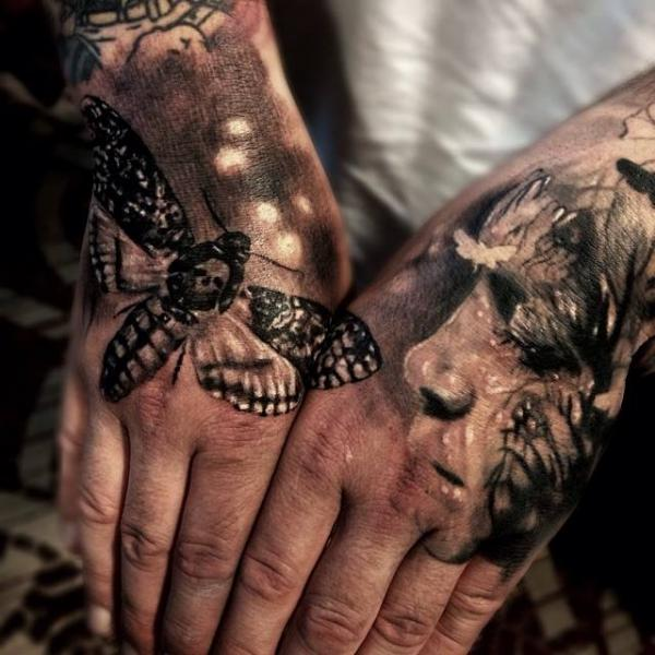 aa334157a Black Ink Moth And Man Face Tattoo On Both Hand By Jak Connolly