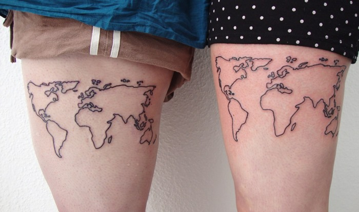 80 fantastic map tattoos black outline world map tattoo on couple side thigh gumiabroncs Choice Image