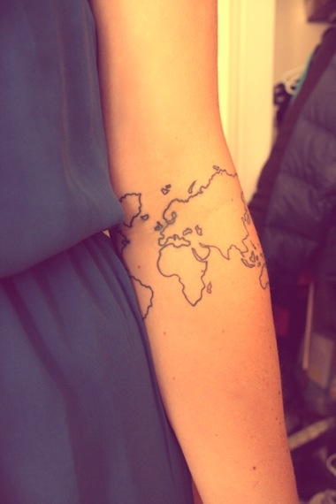 80 fantastic map tattoos black outline world map tattoo on elbow gumiabroncs Choice Image