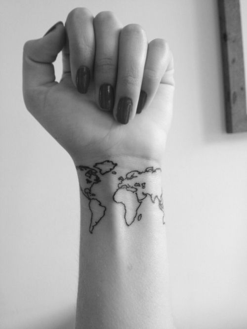 Black outline world map tattoo on girl wrist gumiabroncs Gallery