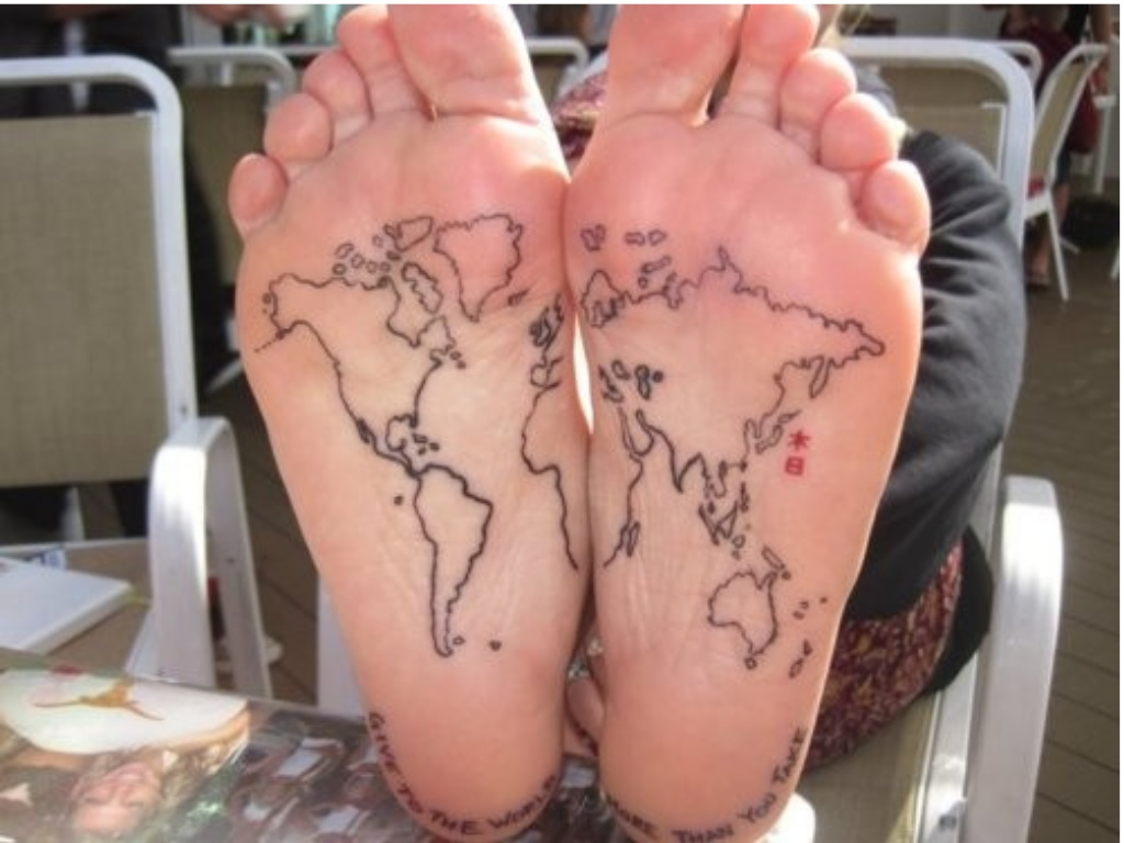 Black outline world map tattoo on under feet gumiabroncs Image collections