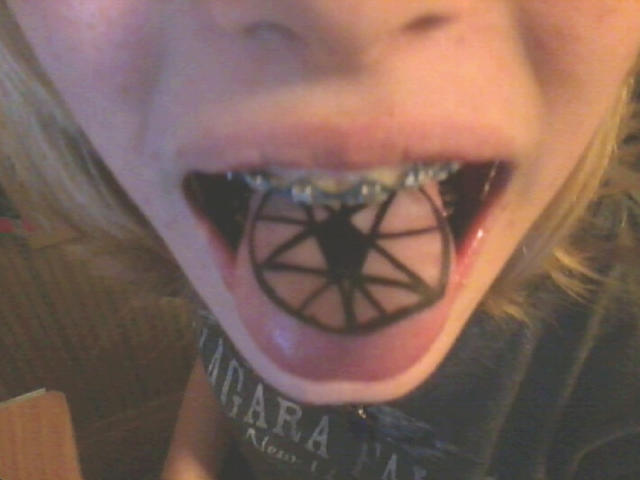 Black Pentagram Star Tattoo On Tongue By Otakuforce Productions
