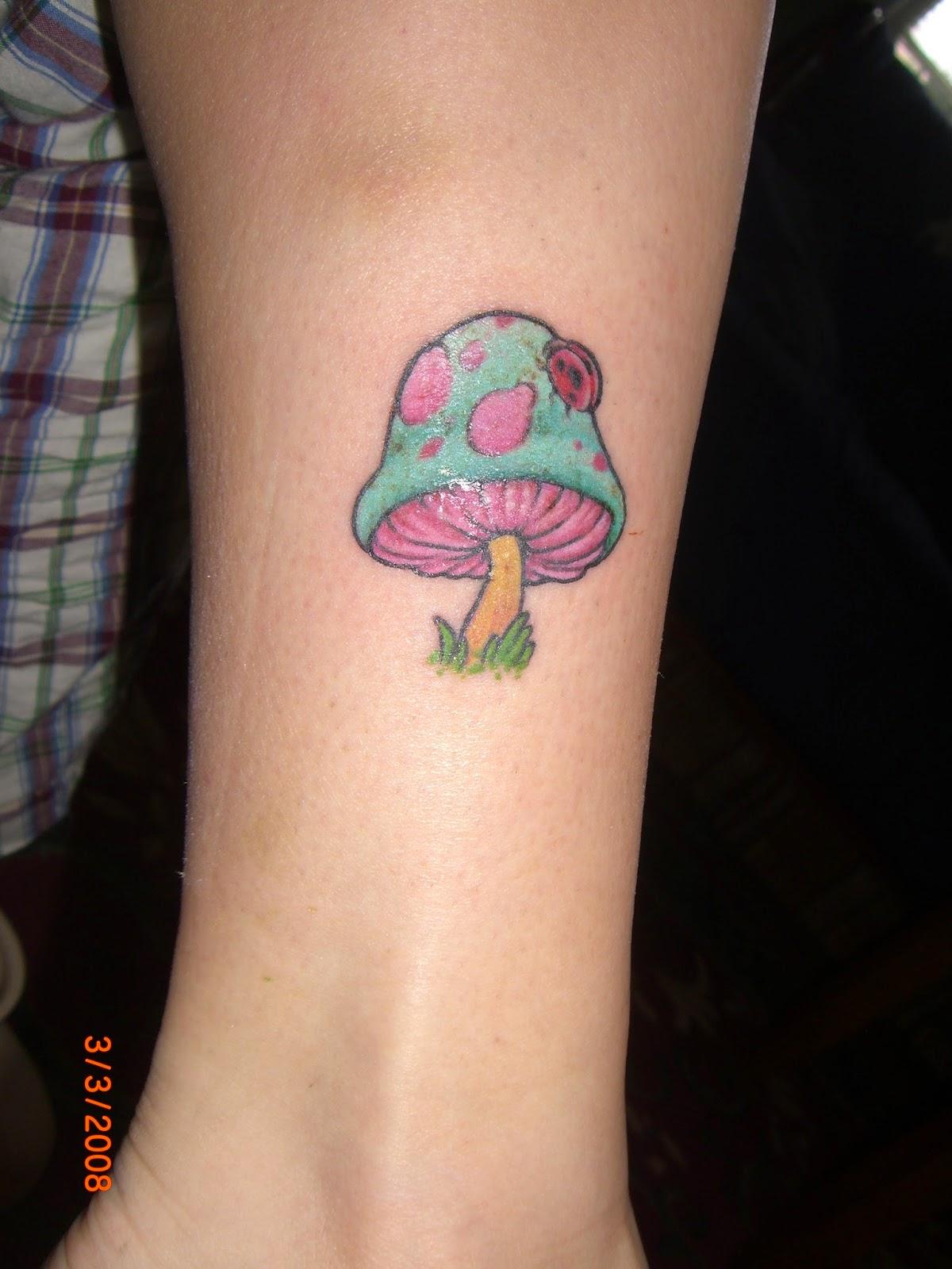 d19914de0 Color Ink Simple Mushroom Tattoo On Arm