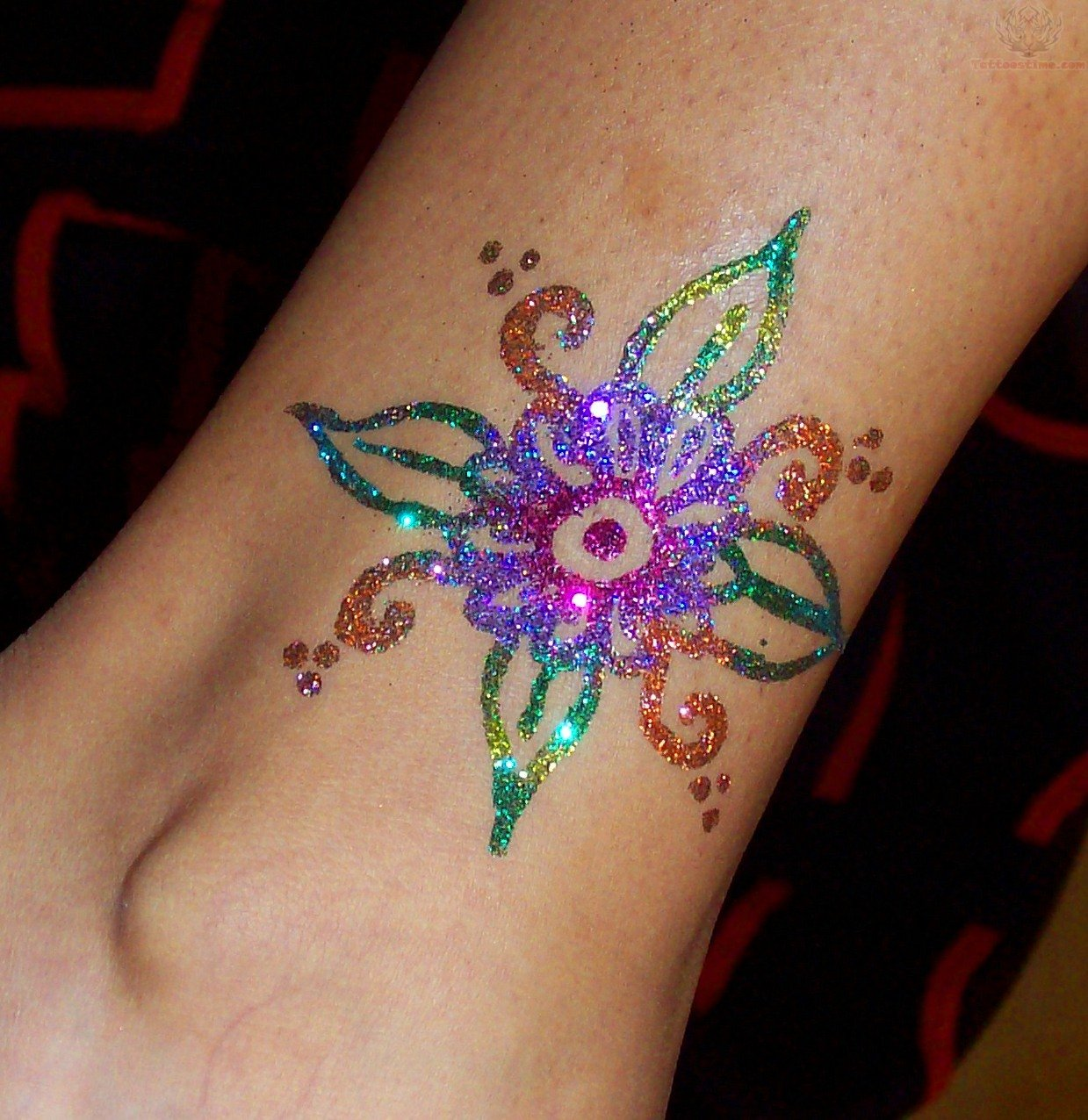 colorful glitter flower tattoo design for leg. Black Bedroom Furniture Sets. Home Design Ideas