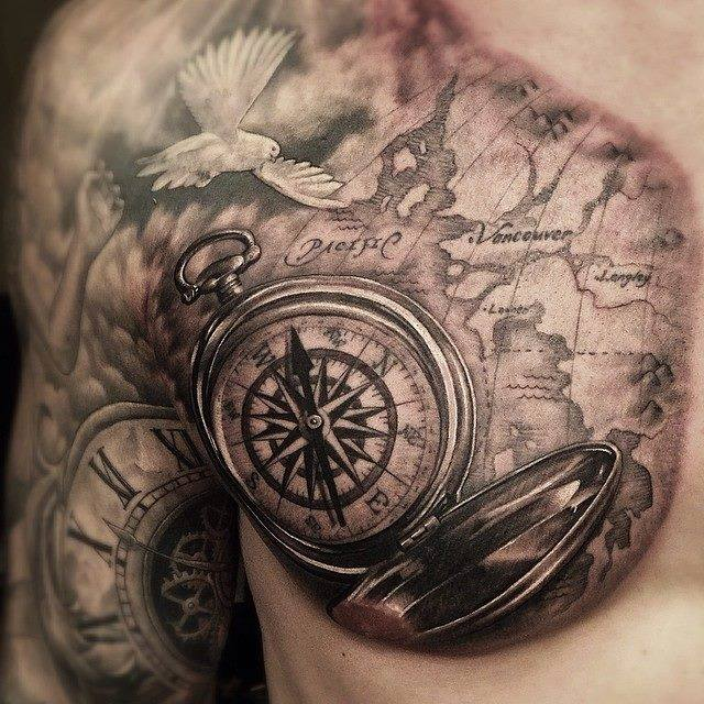 80 fantastic map tattoos compass with map tattoo on front shoulder and chest gumiabroncs Choice Image