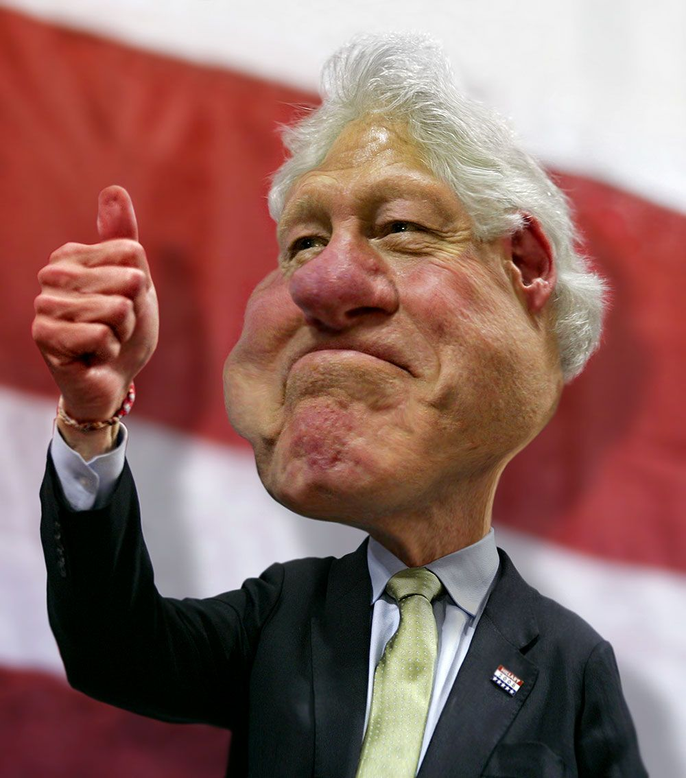 Funny-Caricaturse-Bill-Clinton-Thumbs-Up