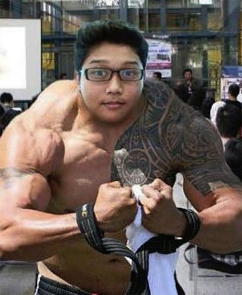Funny Muscle Boy Photoshopped Neck Picture