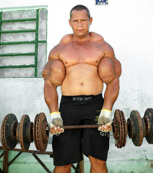Funny Weightlifting Muscular Man Picture
