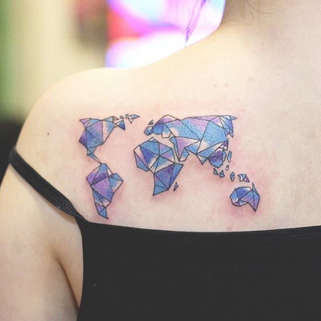 80 fantastic map tattoos geometric world map tattoo on girl left back shoulder gumiabroncs Images
