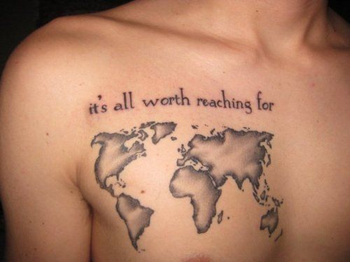 80 fantastic map tattoos its all worth reaching for black and grey world map tattoo on man chest gumiabroncs Images