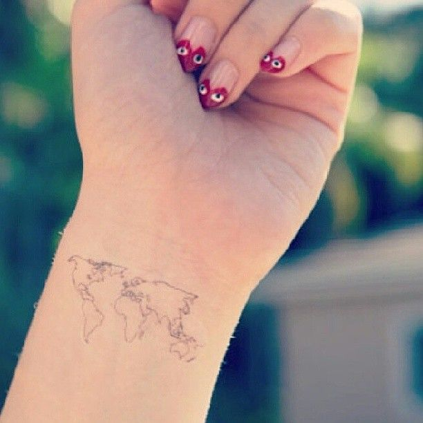 80 fantastic map tattoos little world map tattoo on girl wrist gumiabroncs Gallery