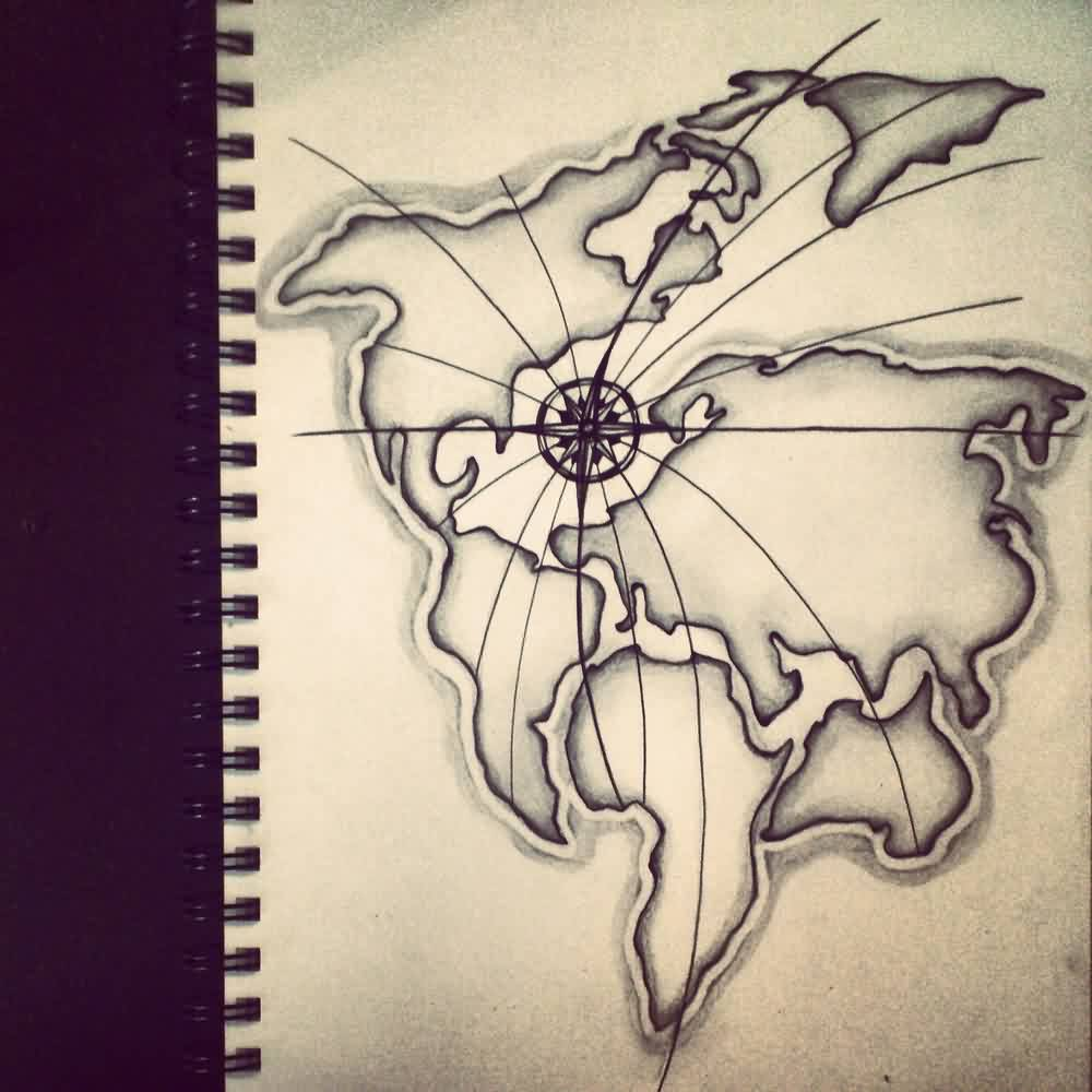 2 latest map tattoo designs nice world map with compass tattoo design gumiabroncs Gallery