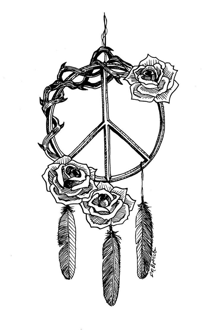 Peace Logo Dreamcatcher Woth Roses Tattoo Stencil By Elin ...