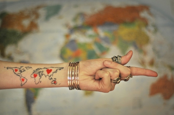 80 fantastic map tattoos red hearts in world map tattoo on forearm gumiabroncs Images