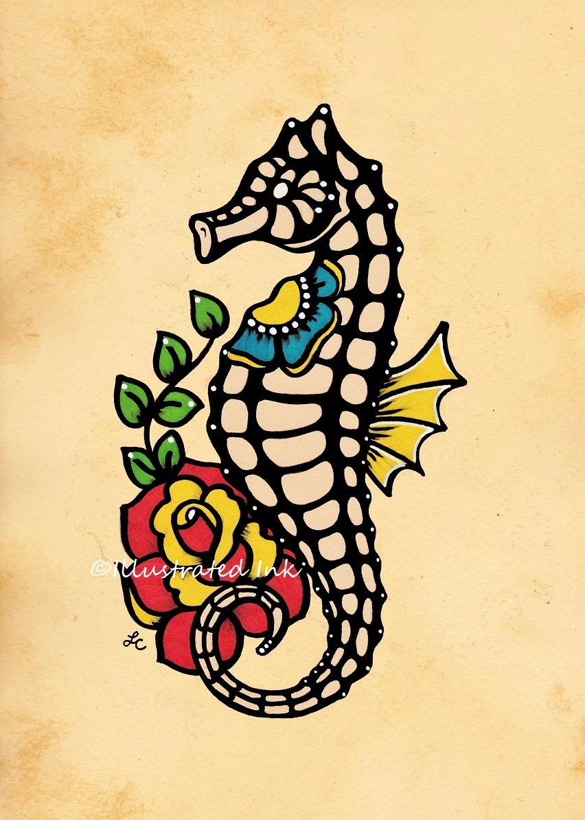 30 unique seahorse tattoos for Seahorse tattoo designs