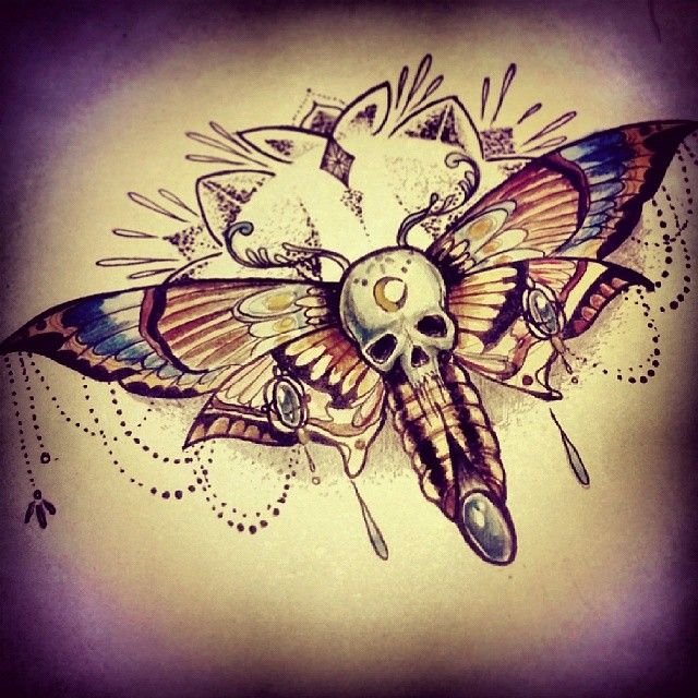 skull moth tattoo design idea