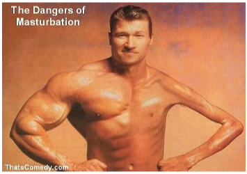 The Dangers Of Masturbation Funny Muscle Man Picture