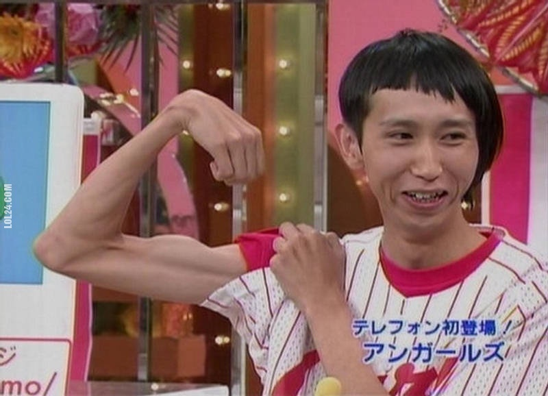 Thin Guy Showing Muscle Funny Picture
