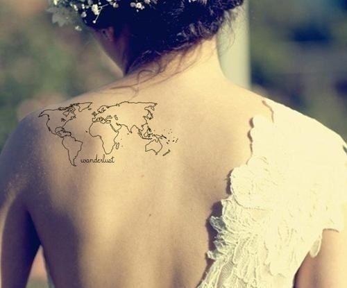 80 fantastic map tattoos wonderlust black outline world map tattoo on girl left back shoulder gumiabroncs Gallery