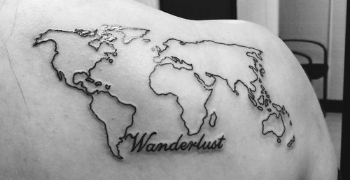 80 fantastic map tattoos wonderlust black outline world map tattoo on right back shoulder gumiabroncs Gallery