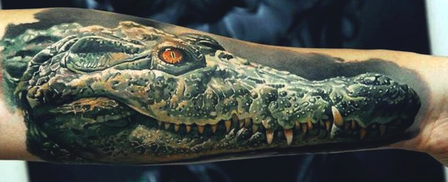 23989307d 3D Alligator Head Tattoo On Forearm