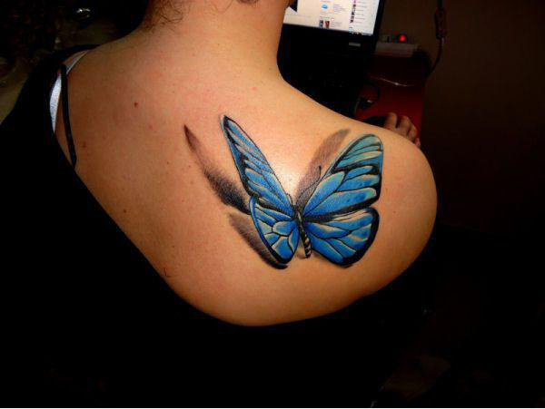 3D Blue Ink Butterfly Tattoo On Right Back Shoulder