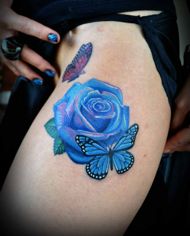 3D Blue Rose With Two Butterflies Tattoo On Side Thigh