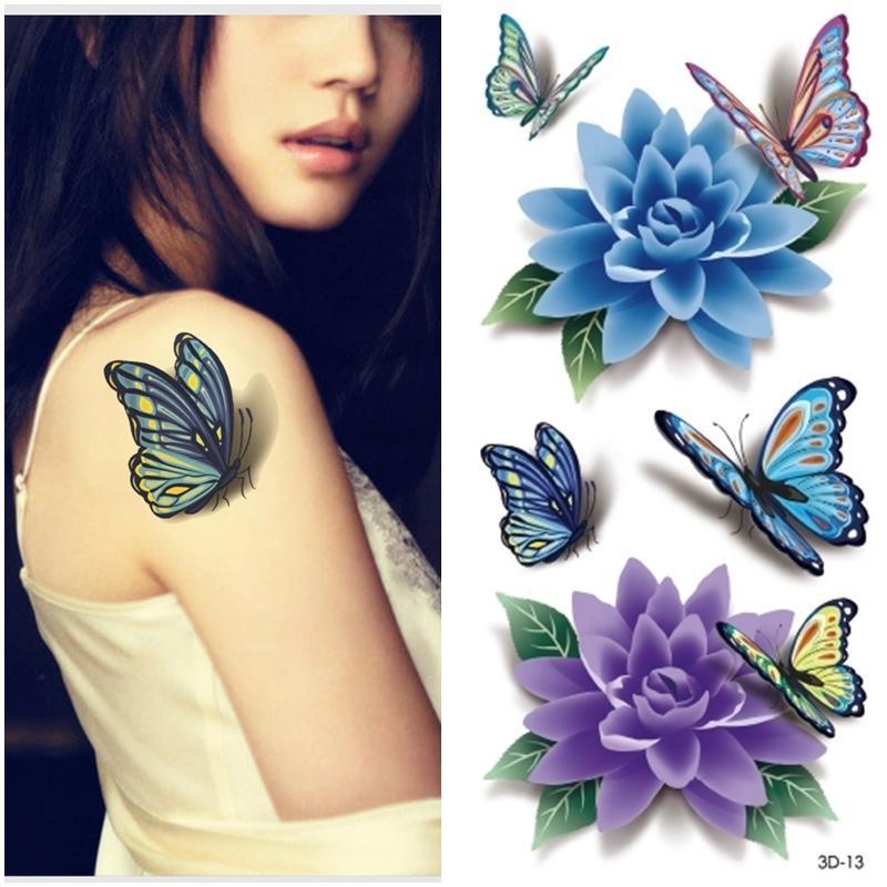 3D Butterflies Tattoo Design For Girl Shoulder