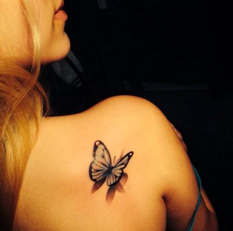 3D Butterfly Tattoo On Right Back Shoulder