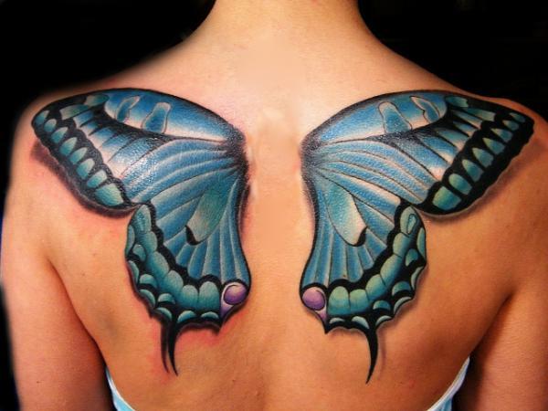 3D Butterfly Wings Tattoo On Upper Back