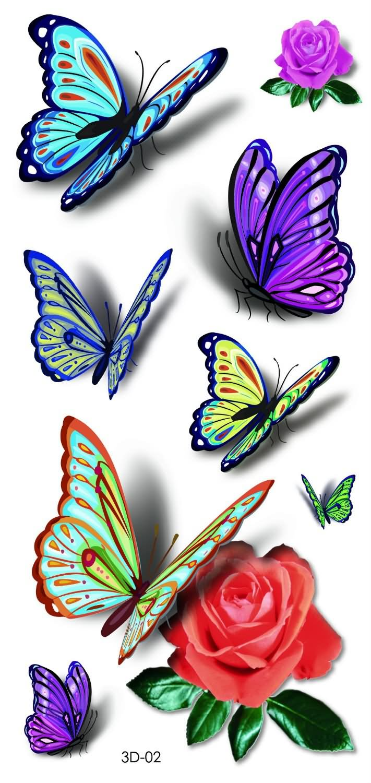 3D Colorful Butterflies Tattoo Design