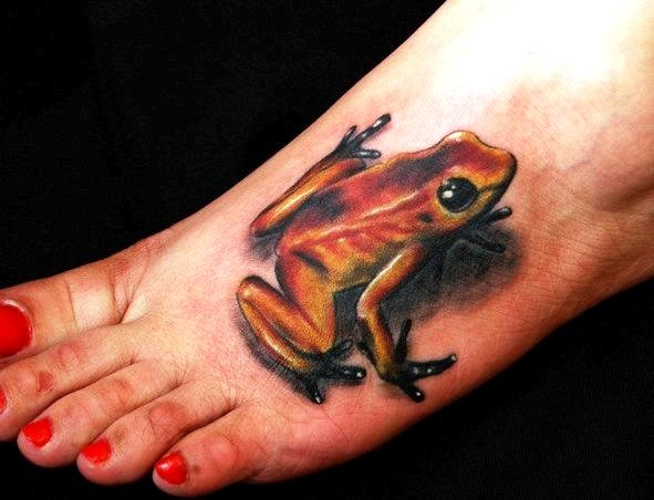 7 awesome 3d foot tattoos for Celtic frog tattoo designs