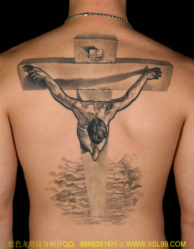 3d jesus on cross tattoo on full back. Black Bedroom Furniture Sets. Home Design Ideas