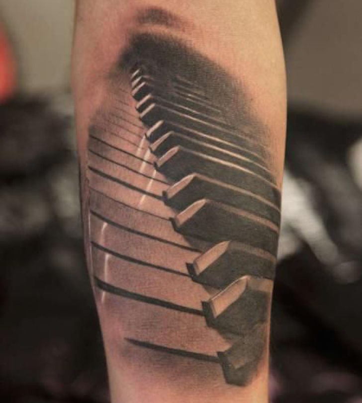 3D Piano Keyboard Tattoo On Forearm