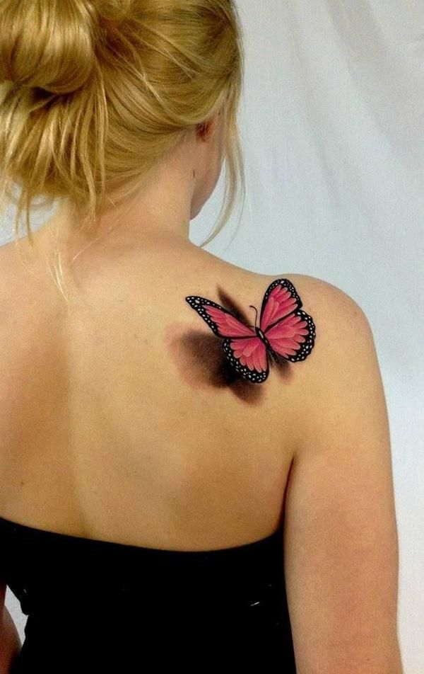3D Pink Butterfly Tattoo On Girl Right Back Shoulder