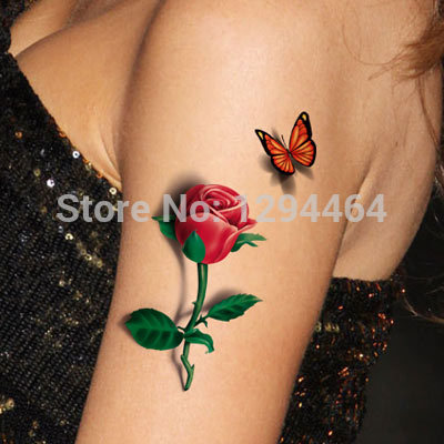 3D Red Rose With Butterfly Tattoo On Half Sleeve