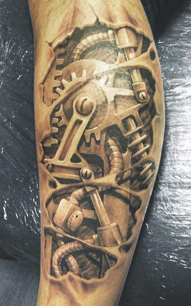 3d Ripped Skin Biomechanical Tattoo Design For Leg By David Klvac