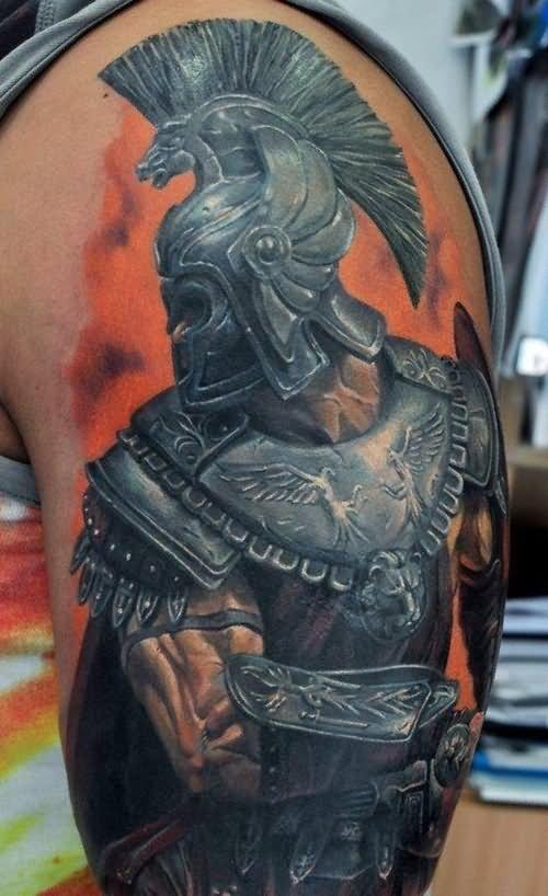 f3de2dd259bf0 3D Spartan Tattoo On Left Half Sleeve