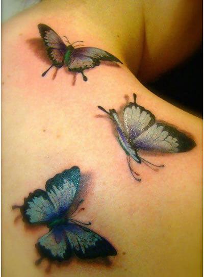 3D Three Butterflies Tattoo Design For Back Shoulder