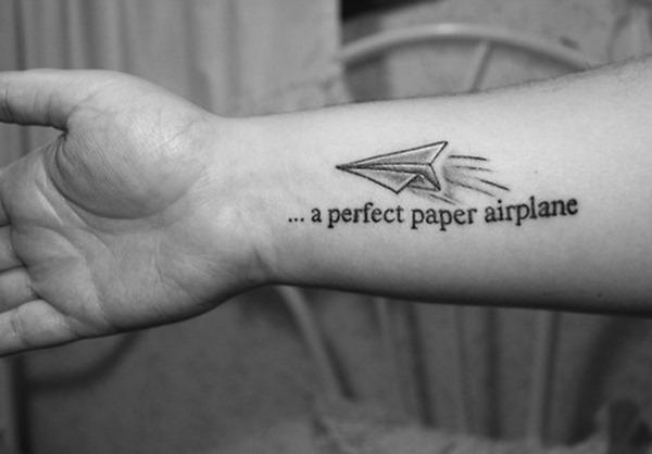 b9e1834f3b2f9 A Perfect Paper Airplane - Airplane Tattoo On Forearm