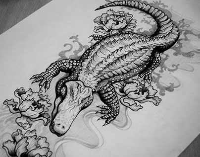 52bc2d8e8 Amazing Black Ink Alligator Tattoo Design