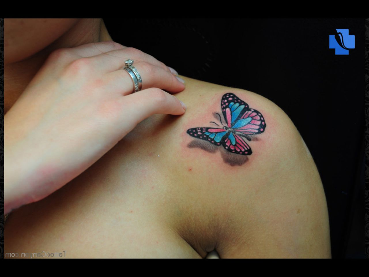 Amazing Colorful 3D Butterfly Tattoo Design For Shoulder