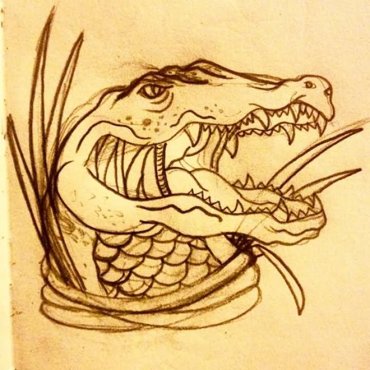 0411c5022 Attractive Black Alligator Tattoo Design