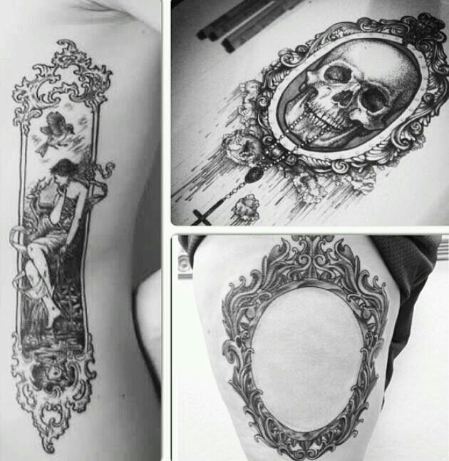 antique mirror frame tattoo. Beautiful Antique Attractive Three Frame Tattoo Design Intended Antique Mirror E